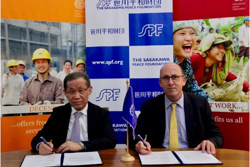The Sasakawa Peace Foundation signs a memorandum of understanding with the International Labour Organization (ILO) in Myanmar
