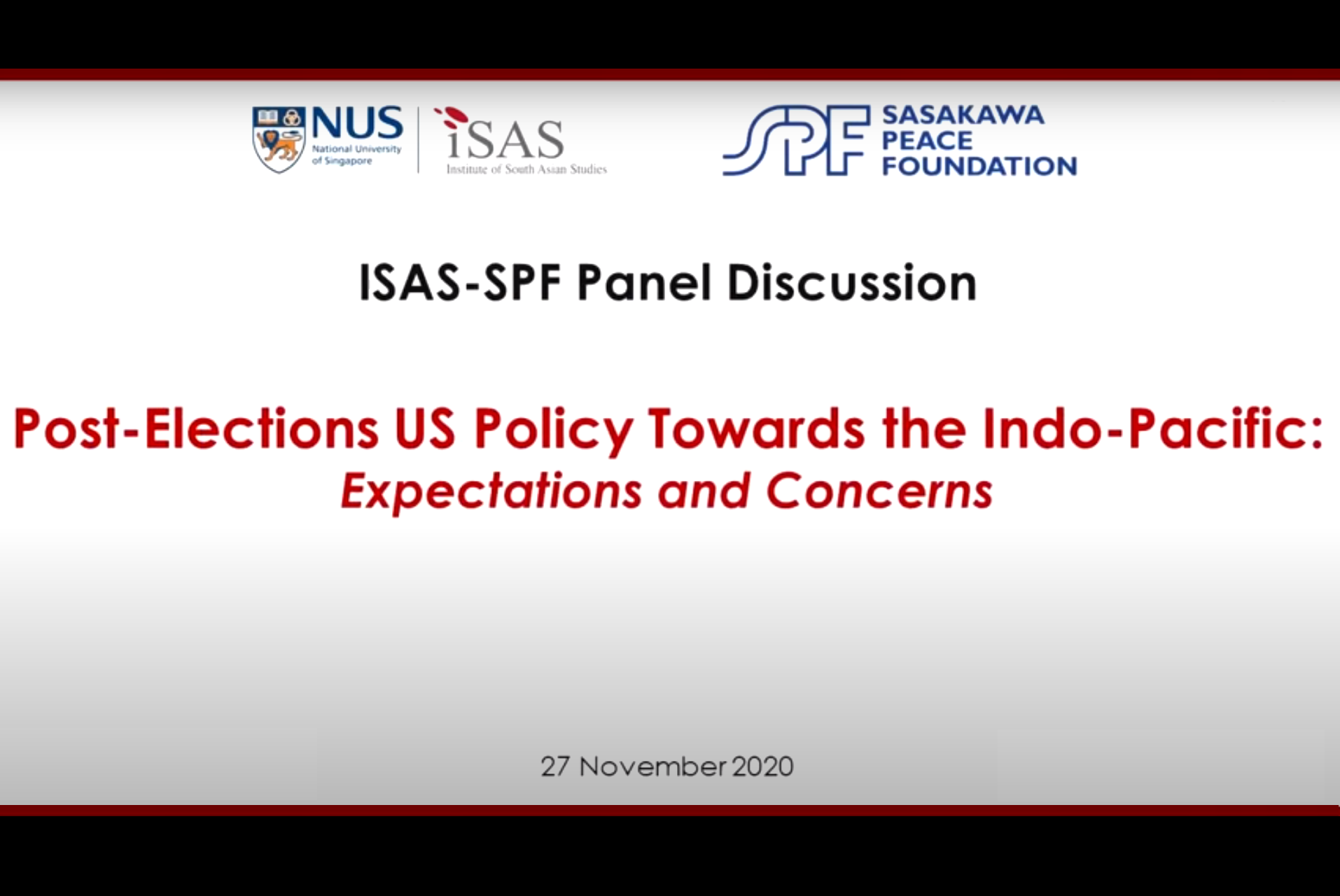 "Video now available for ""Post-election U.S. Policy toward the Indo-Pacific: Expectations and Concerns"" event co-organized by SPF and NUS-ISAS"