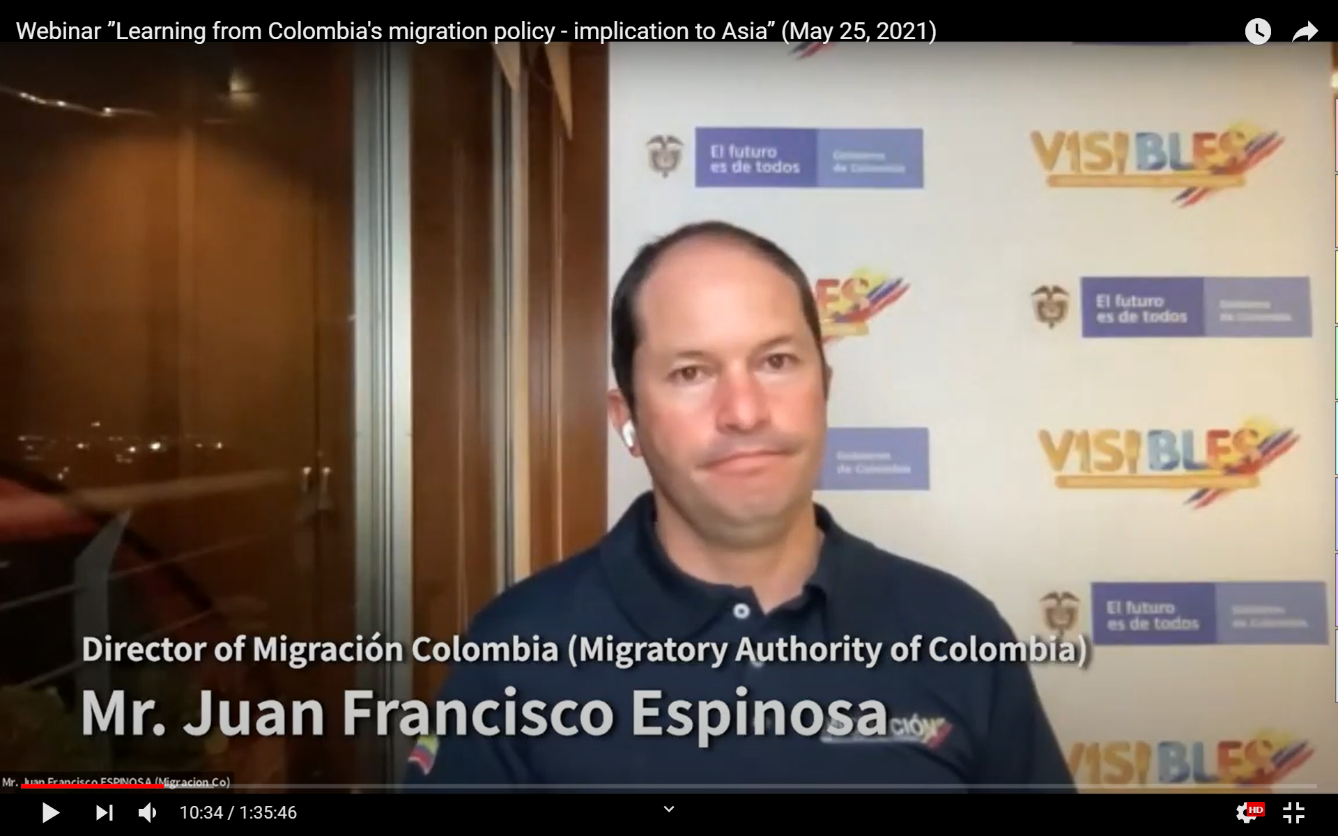 """Webinar """"Learning from Colombia's migration policy - implication to Asia"""" (May 25, 2021)"""