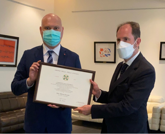 Dr. Fabrizio Bozzato, Senior Research Fellow of OPRI, was conferred the Knighthood of the Order of Star of Italy