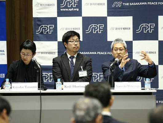 From left to right: Dr. Kayoko Tatsumi, Director of SPF's Middle East and Islam Program Department, Dr. Koji Horinuki, and Dr. Yasuyuki Matsunaga