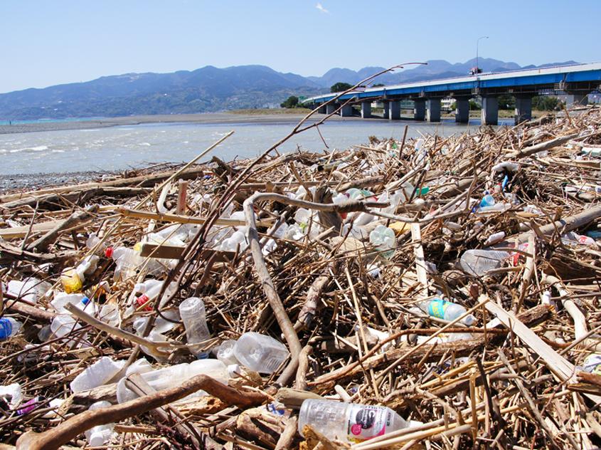 木くずに混じってプラスチックごみが散見される、河口に近い海岸の風景。こうなると回収・分別も一層難しい!(かながわ海岸美化財団提供)