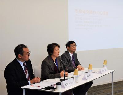 松本洋、茶野順子(笹川平和財団常務理事)、西田一平太の各氏(写真右から)