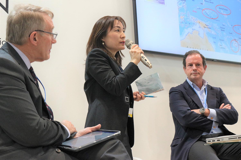 (写真)COP25における「オーシャンズ・アクション・デー」の「適応と移転」セッションでは、共同議長を務めた