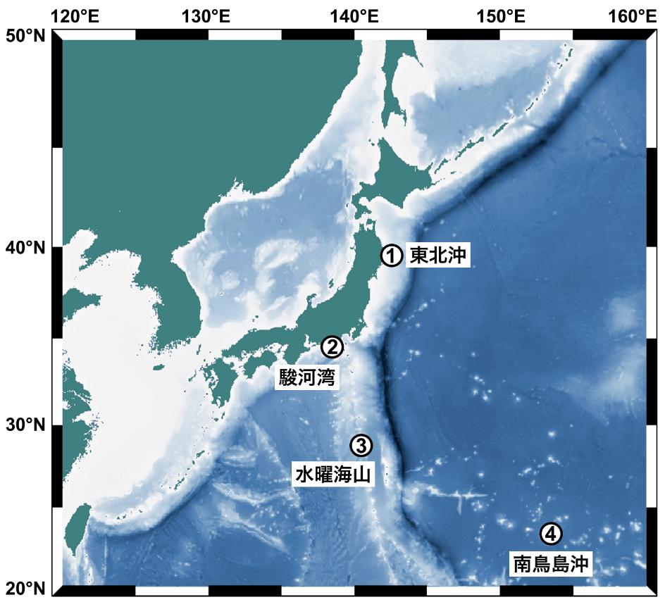 本研究で調査した4つの海域