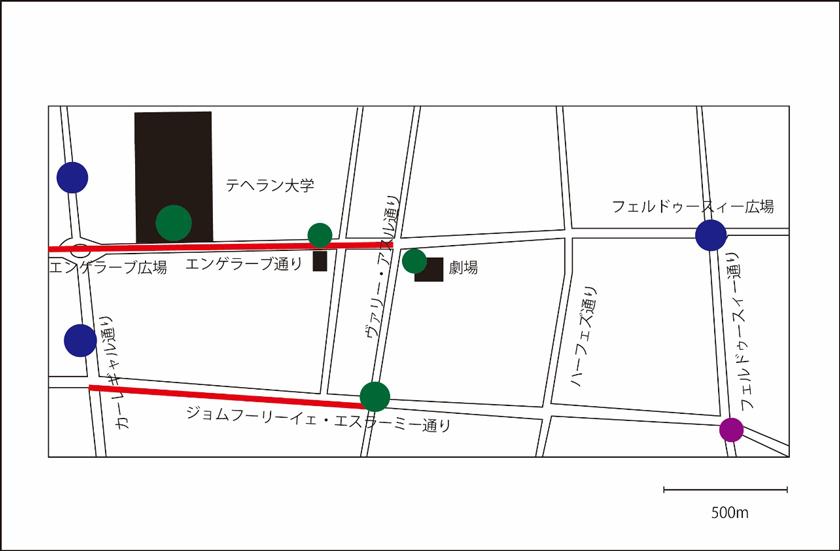 図1 フェルドゥースィー駅近辺の地図