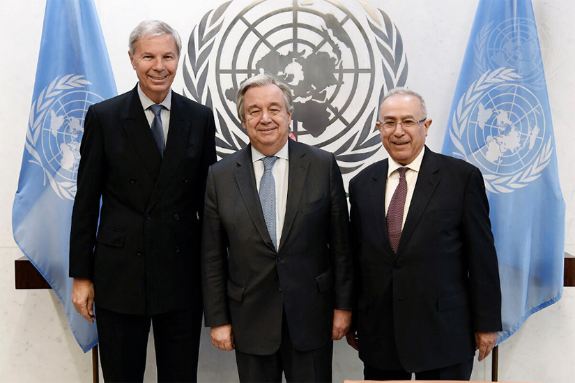 UN Photo/ Evan Schneider Caption: U.N. Photo/Evan Schneider; UN Secretary-General Antonio Guterres meets with AU Special Envoy Ramtane Lamamra (right) and UN Special Envoy Jean-Marie Guéhenno (left) about the AMISOM Trust Fund in 2018. Guéhenno is a former head of the UN Department for Peacekeeping Operations, and Lamamra is a former commissioner for peace and security of the AU Commission. Both were chosen for their positions based on their extensive knowledge of the history of UN and AU involvement in Somalia.