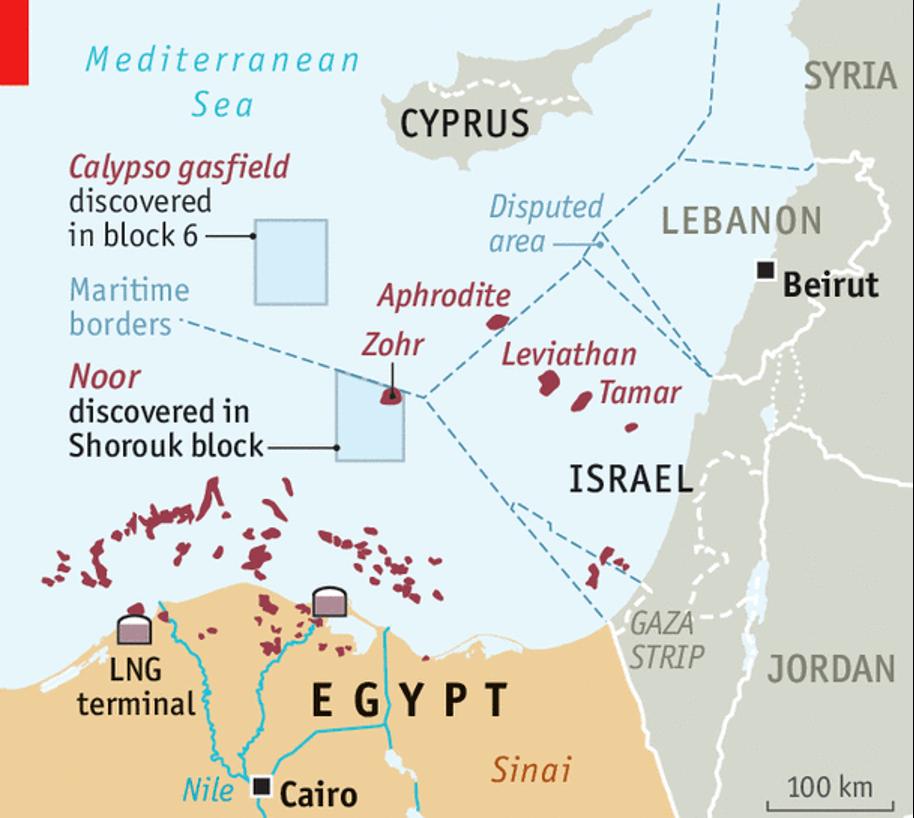 図1:東地中海における天然ガス田