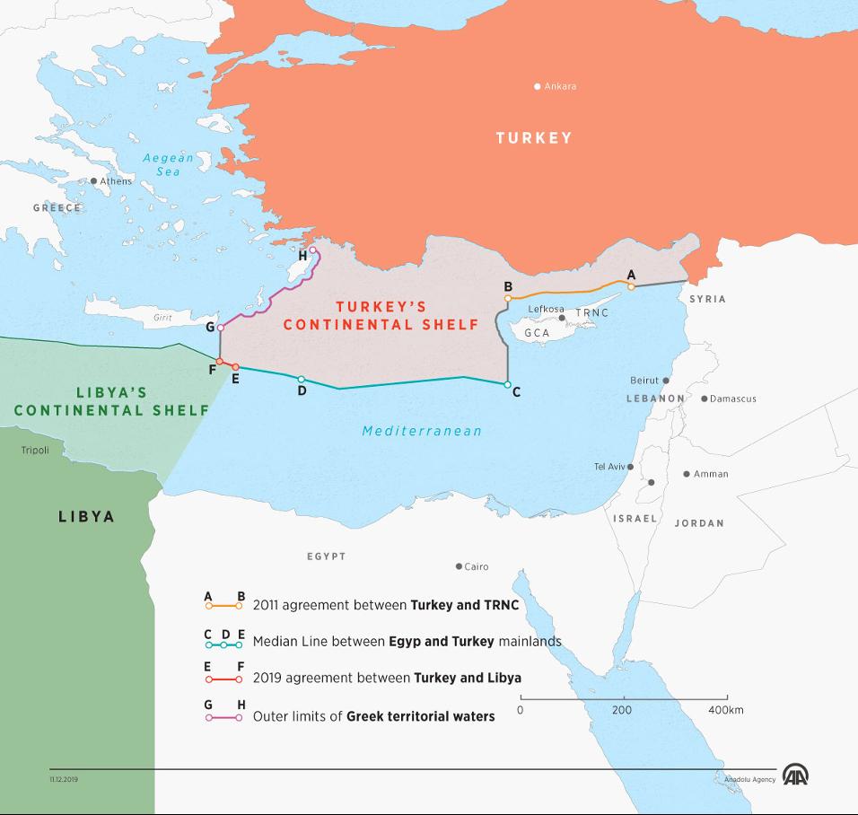 図3:トルコとリビアGNAが合意した海洋境界設定