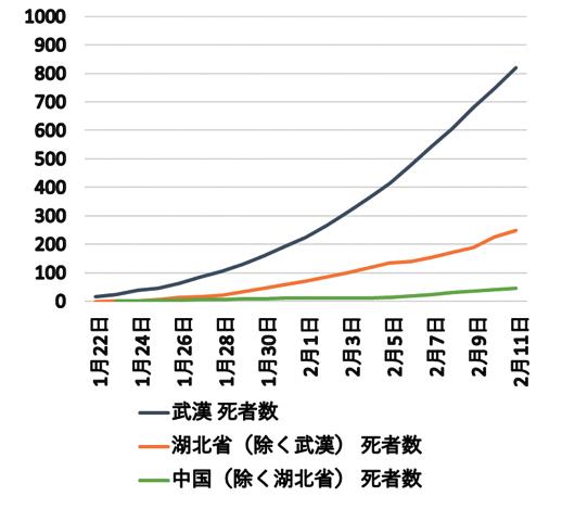 図1 COVID-19死者数の累積(2020年1月22日~2月11日)
