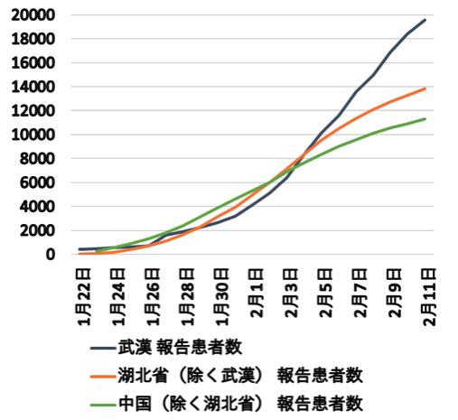 図2 COVID-19報告患者数の累積(2020年1月22日~2月11日)